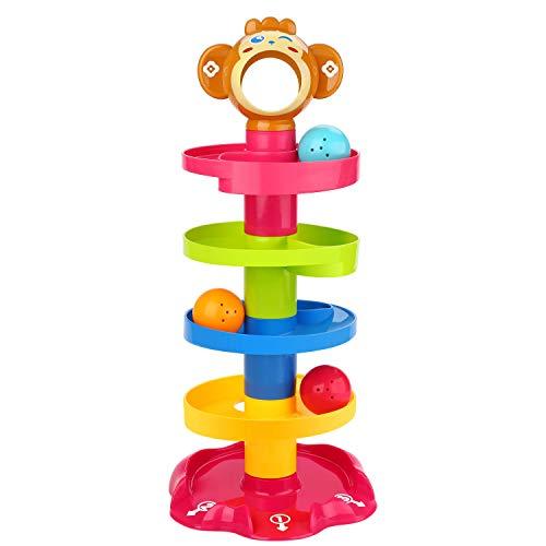 Peradix Kugelbahn pädagogisches Spielzeug Puzzle Rolling Ball mit 6 Stapel 3 Kugeln für Baby Kinder ab 9 Monate Design(AFFE) - Kinder Stapeln Spielzeug