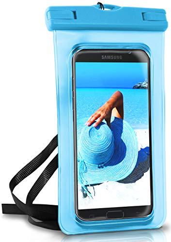 ONEFLOW® wasserdichte Handy-Hülle für Samsung A + J Reihe | Touch- & Kamera-Fenster + Armband und Schlaufe zum Umhängen, Blau (Aqua-Blue) - Phone Wasserdichte Tasche