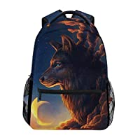 Hunihuni Wolf Moon Night Durable Backpack College School Book Shoulder Bag Daypack for Boys Girls Man Woman