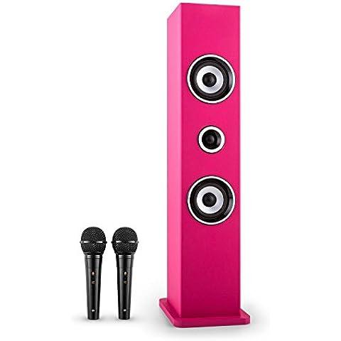 auna Karaboom altavoz karaoke (bluetooth, dos micrófonos, puerto USB, radio FM) - rosa