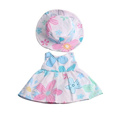 Gazechimp Schöne Puppen geblümtes Kleid mit Hut Anzug Kleidung für 18 Zoll Mädchen Puppe - Mehrfarbig -