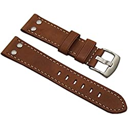 22mm Calf leather watch strap band in vintage-look with rivets in brown with buckle in silver