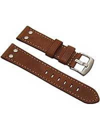 22mm Cuero de becerro pulsera de reloj en vintage-look con remaches en marrón con hebilla en plata
