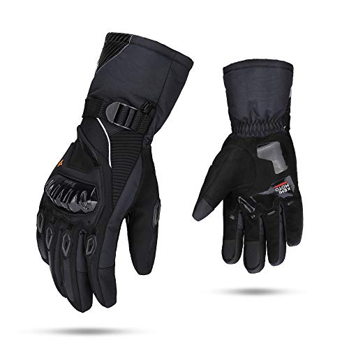 Guantes Moto Invierno Impermeable Pantalla Táctil Guantes Protectores de Motociclismo Dedo Completo para Invierno