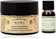 Kama Ayurveda Rejuvenating and Brightening Ayurvedic Night Cream 25gm, Bringadi Intensive Hair Treatment 8ml C