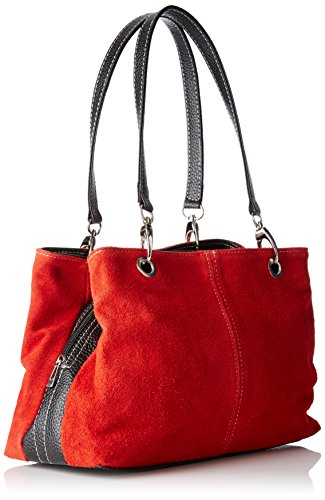 Chicca Borse 10028, Borsa a Mano Donna, 32x20x14 cm (W x H x L) Rosso