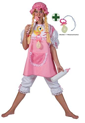 Karneval-Klamotten Baby Kostüm Damen Baby Damen-Kostüm Erwachsene rosa-weiß mit Riesen-Schnuller rosa Karneval Größe 44/46 (Damen Baby Kostüm)