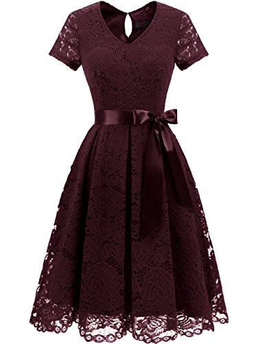 Dresstells Damen Spitzenkleid Herzform Elegant Cocktail Abendkleid Burgundy XL
