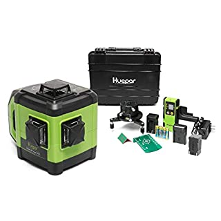 Huepar Electronic Self-Leveling 3D Green Beam Laser Level -3x360 Cross Line Three-Plane Leveling and Alignment Line Laser Level with Dual Slope Function &Adjustable Visibility, Receiver Included DT03G