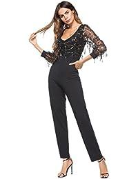 1f4590b81fcfd emmarcon Tuta con Frange Paillettes Pantaloni Lunghi Jumpsuit Vestito Abito  Cerimonia Sera Festa