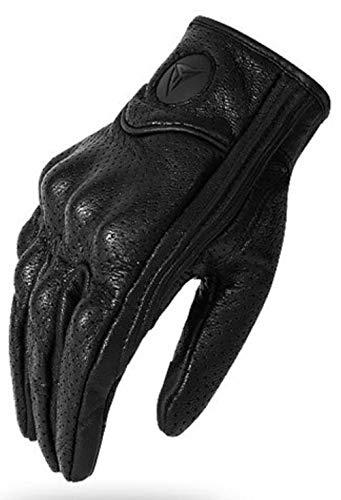Monster - Guanti da moto in vera pelle, con schermo touch, antivento, traspiranti, quattro stagioni, da uomo Versione traspirante. L