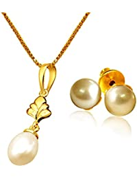 Surat Diamonds Hanging Drop Shaped Gold Plated Pendant With 22 IN & Real Pearl Stud Earrings For Girls H1503