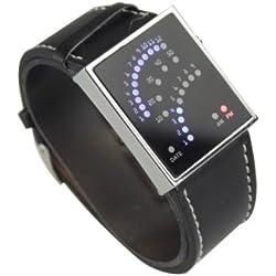 29 LED Digital elektronische Uhr Armbanduhr mit außergewöhnlichem Design, aus Leder, Schwarz