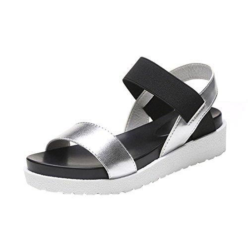 Damen Schuhe,Sannysis Mode Sandalen Frauen Leder flache Sandalen (Silber, 40)