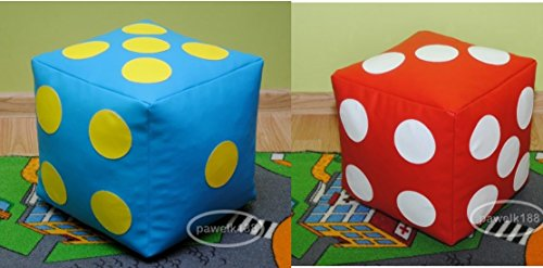 Set di 2 cubo/dado puff puf pouf pouff poltrona sacco in ecopelle, simipelle 50cm x 50cm, sedia/giocco per bambini. CREA TUOI CUBI-SCEGLI COLORE!