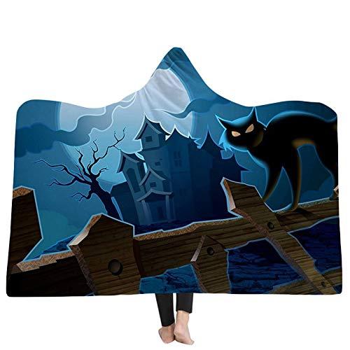 FGVBWE4R 3D Hooded Blankets Home Erwachsene 3D Druck Thread Decken Halloween Hexe Mond Nacht mit Kapuze Decken-06,150x200cm