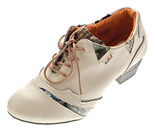 TMA Echtleder Damen Pumps Weiß Leder Halb Schuhe 6101 Zeitungsdruck Trichterabsatz Gr. 36