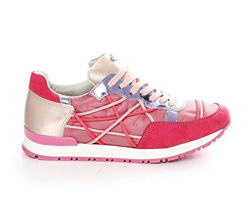 Scarpe Sneakers L4K3 LAKE Donna Mr BIG Ecocamoscio Piumino Raso Rosa (40 EU)