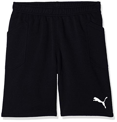 Puma liga casuals shorts jr, pantaloncini bambini, nero black white, 128