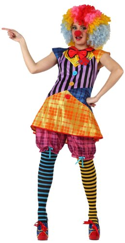 Clowns-Kostüm für Damen - M / (Streifen Die Erwachsenen Clown Kostüme)