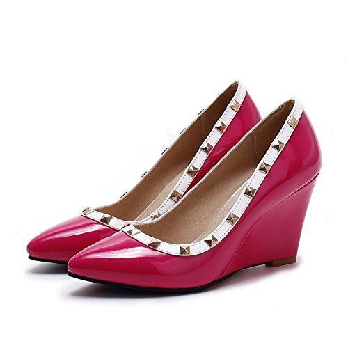 AgooLar Damen Hoher Absatz Gemischte Farbe Ziehen Auf Lackleder Spitz Zehe Pumps Schuhe Rot