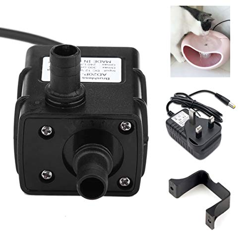 Price comparison product image Micro Brushless Water Pump - MASO 12V 5W 350L / H Cat Water Fountain Replacement Pump for Water Feature + 12V UK Plug Power Supply Adapter for Pet Fountains,  Aquarium,  Pond,  Fish Tank,  Statuary Water Pump Hydroponics,  with 4.9Ft (1.5M) Power Cord