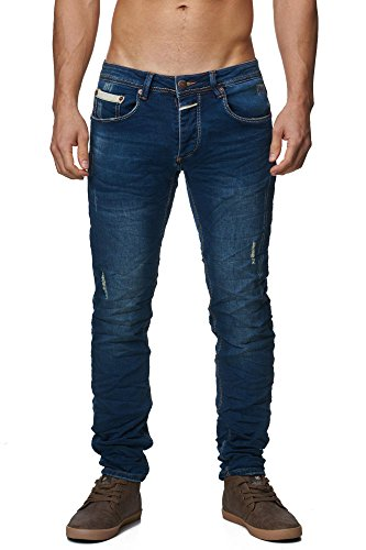 MEGASTYL Herren Hose Light-Washed Jeans Indigo-Blau Slim-Fit 5-Pocket Jogg-Denim, GRÖSSE:W30 / L32 (5-pocket-easy Jean Fit)