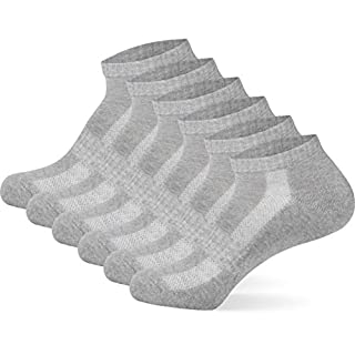 Mctam Herren Damen Sport Socken Halbsocken Jungen Mädchen Innen Frottee Gekämmte Baumwolle Lange Haltbarkeit, 35-38, 6x HF, Hellgrau