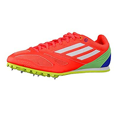 adidas Unisex Techstar Allround 3 Solar Red, Feather White and Semi Flash Green S15 Mesh Track and Field Shoes - 11 UK