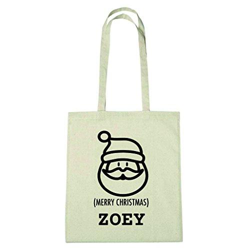 JOllify Baumwolltasche Geschenk für ZOEY Weihnachten - natur: Santa Claus Weihnachtsmann (Santa Zoey)
