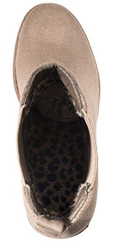 Elara Damen Chelsea Stiefel | Bequeme Stiefelette Profilsohle | Plateau Chelsea Boots Khaki ungefüttert