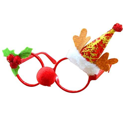 Einzigartige Kostüm Santa - Delisouls Weihnachten Glitzer Party Brille, Neuheit Weihnachten Brillengestell, Glänzend Santa Brille Süße Weihnachten Brille für Party Kostüm Urlaub Aufmerksamkeiten - G