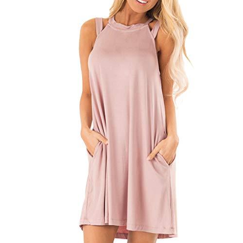 Produp Mode Frauen Kleid Ärmellos Lässige Taschen Hohl Schulter Kurzes Minikleid Kleid Lässig ()
