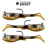 FISHINGGHOST® GRUMPYbaby Set di gommoni - Peso: 13g, Lunghezza: 11cm - Azione di Nuoto Estrema, Esche da Pesca per la Pesca del luccio, Softbait, Swimbait (3 Pezzi) (GRUMPYbaby Gold)