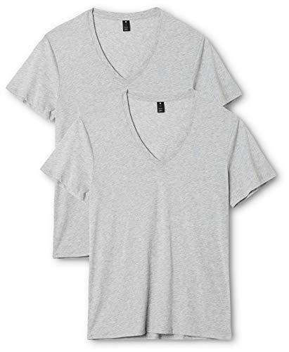 G-STAR RAW Herren Base Htr V T S/S 2-Pack T-Shirt, Grau (Grey 906), Medium (Jersey T-shirt V-neck Baumwoll)