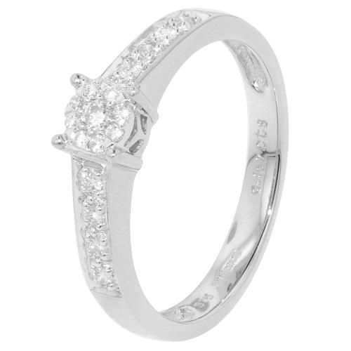 Oro blanco de racimo 0.16ct hombros anillo de compromiso de diamantes
