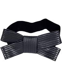 Calonice Amorino Frauen Zubehör Gürtel Gürtel Schwarz im Stil einer Doppelschleife Stretch-Material Schwarz gestreifter Gürtel Einheitsgröße 31x13x2 cm (BxHxT) 20600
