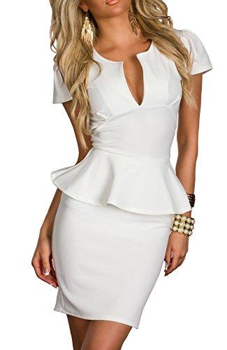 Boliyda verano cuerpopuede Backless Clubwear Vestido corte bajo volante Slim Club Fiesta casual vestido de diario para mujeres Ladies Lady blanco Talla 2XL