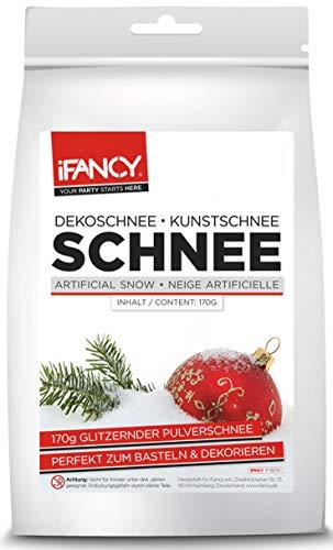 iFancy Kunstschnee 170g - funkelnd glitzernder Dekoschnee Schnee Pulverschnee Eiskristalle Puderschnee Weihnachtsdeko