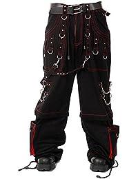 Dead Threads Elite rojo hilo Metal gótico Punk pantalones de pantalones para hombre negro