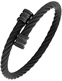 5ee0f51a4e8a Corde en maille Macho Noir 316L en acier inoxydable chirurgical gratuit  Taille Manchette Kada Bracelet pour