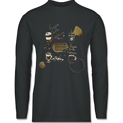 Statement Shirts - But first: Coffee Wasserfarben - Longsleeve / langärmeliges T-Shirt für Herren Anthrazit