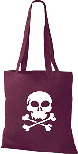ShirtInStyle Stoffbeutel Skull Totenkopf Schädel diverse Farbe burgundy