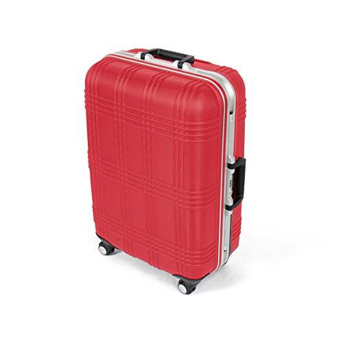 MasterGear Valigia Rigida in ABS con Struttura Interna in Alluminio e 4 Ruote Girevoli a 360° - Trolley con Manico Telescopico e Lucchetto TSA - Taglia M - 67,5 x 45,5 x 26,5 cm - Colore Rosso
