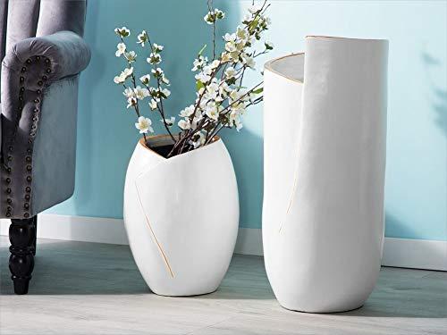 Beliani Moderne Deko-Bodenvase aus Ton in Weiß Abila