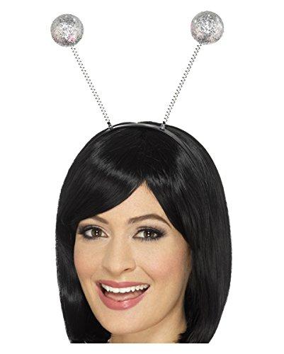 Kopf Bommel Kostüm (Haarreif mit silbernen Bommeln 25cm für Fasching &)