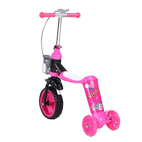 AYNEFY Kinder Dreiradscooter,Scooter for Kids 2-in-1-Roller Kinder Multifunktions Roller Freien Spielzeug Höhenverstellbar Kinderroller (Pink)