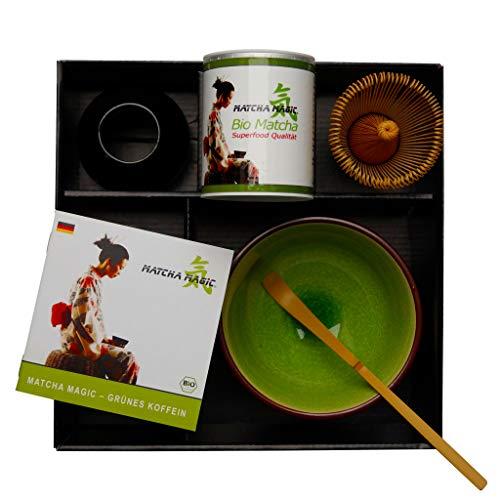 MatchaMagic Matcha Set Superfood | Matcha Set komplett mit Tee | Matcha Set 5-teilig | 30g Bio Japan Matcha, Matcha-Schale, Matcha-Besen, Matcha-Besenhalter, Matcha-Löffel | Matcha Tee Set komplett