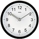 AMS AMS - Funkuhr - Wanduhr - Tischuhr - wasserdichte Baduhr - schwarzes Kunststoffgehäuse - weißes Zifferblatt
