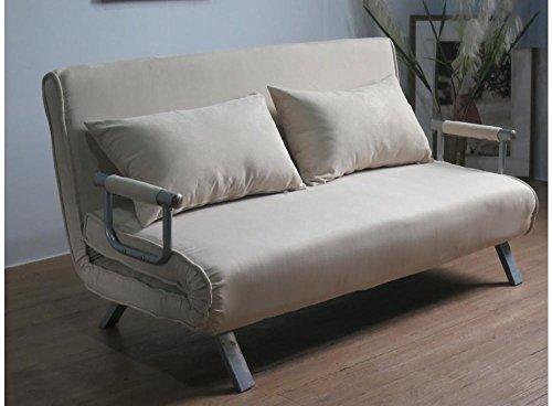 Italfrom - Sofá-cama de dos plazas, de 155 x 69 x 83 (alto) cm, color beige